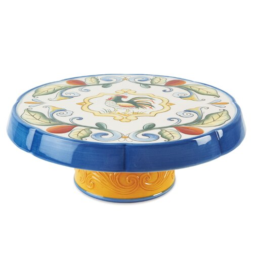Fitz and Floyd Ricamo Round Cake Plate/Chip and Dip