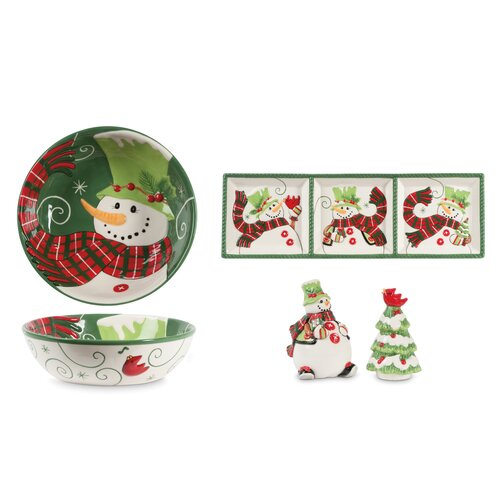 Fitz and Floyd 4 Piece Holly Hat Snowman Serving Set
