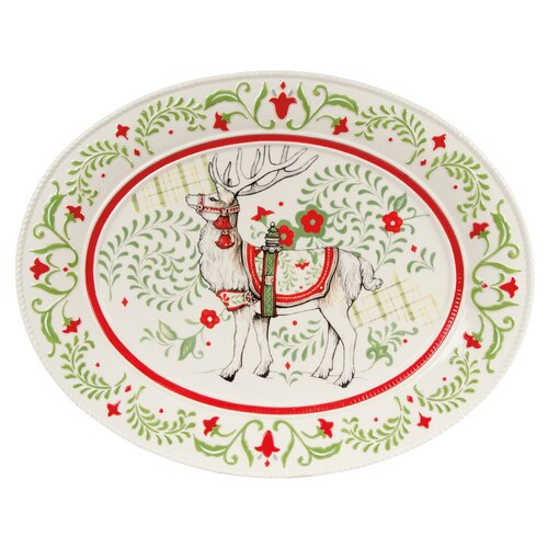 "Fitz and Floyd Winter White Holiday 16"" Oval Platter"