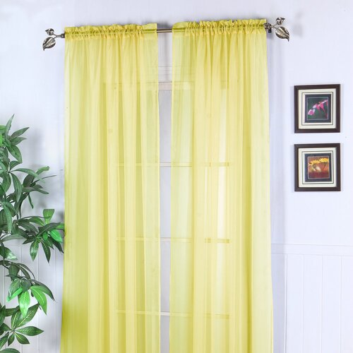 Chic Home Abby Solid Voile Rod Pocket Curtain Panel