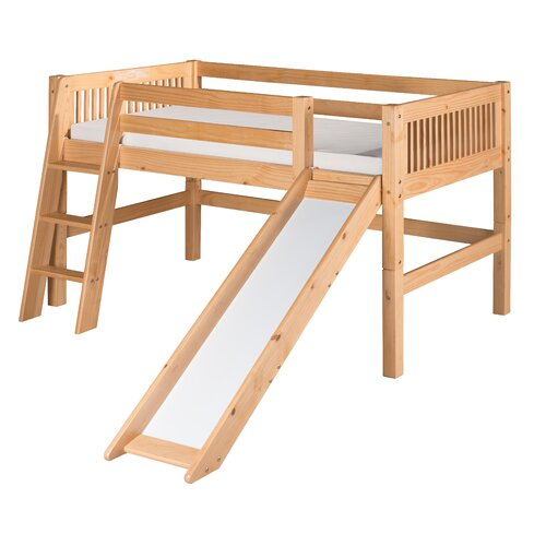 Low Loft Bed with Slide and Mission Headboard