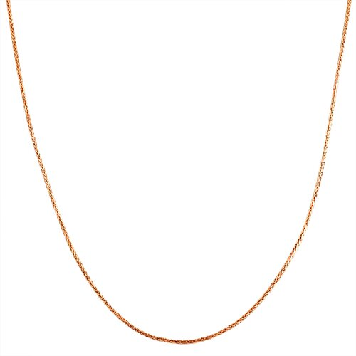 Pink Gold Diamond Cut Square Wheat Chain