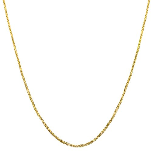 Yellow Gold Round Adjustable Wheat Chain