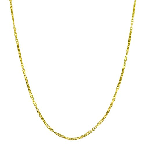Fremada Jewelry Yellow Gold Alternate Curb Chain Necklace
