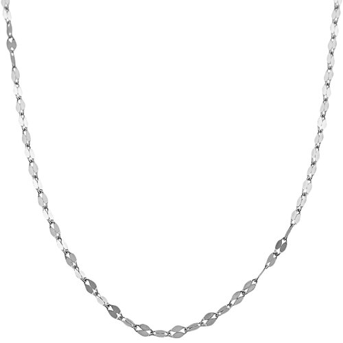 White Gold Mirror Flat Link Chain