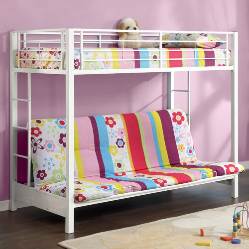 Home Loft Concept Sunrise Twin over Futon Bunk Bed with Built-In Ladder