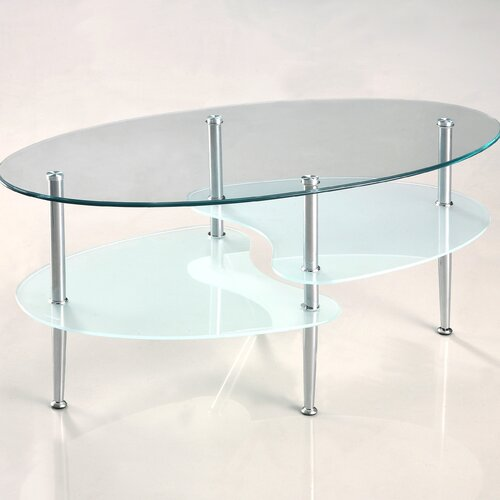 Home loft concept glass oval coffee table reviews wayfair for Wayfair glass top coffee table