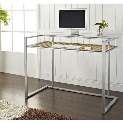 Home Loft Concept Executive Desk with Wood Accent