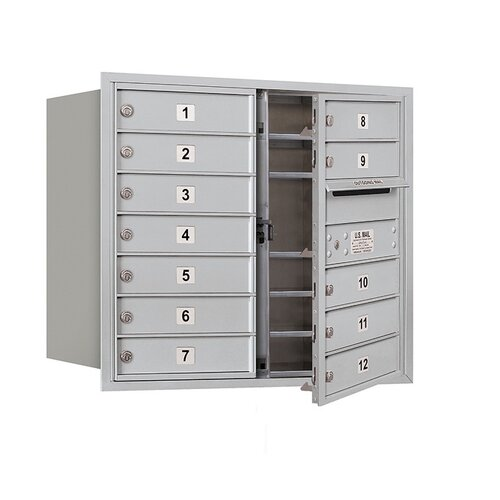 Salsbury Industries 4C Horizontal Mailbox 7 Door High Unit Double Column 12 Doors Front Loading Private Access