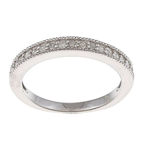 Sterling Silver Pave Set Diamond Band