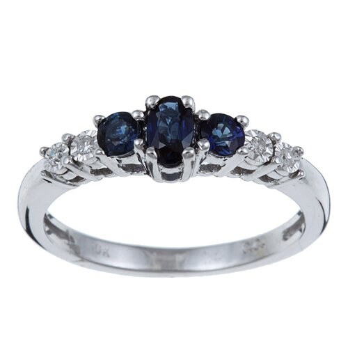 White Gold Triple Stone Genuine Sapphire and Diamond Ring