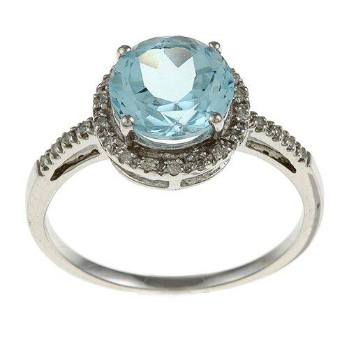 Designer Diamonds White Gold Round Cut Gemstone and Diamond Ring