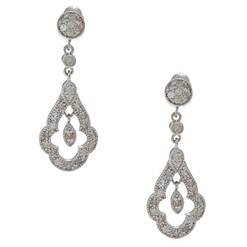 Designer Diamonds Pave Set Diamond Drop Earrings