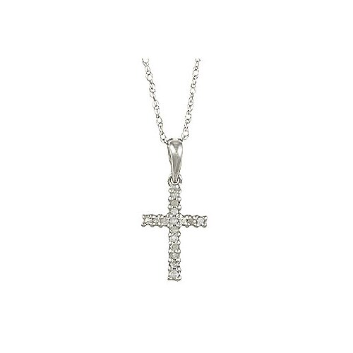 Designer Diamonds White Gold Diamond Cross Pendant