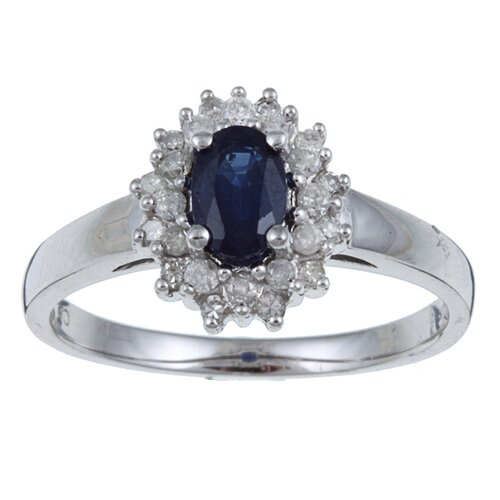 White Gold Genuine Oval Cut Sapphire and Diamond Ring