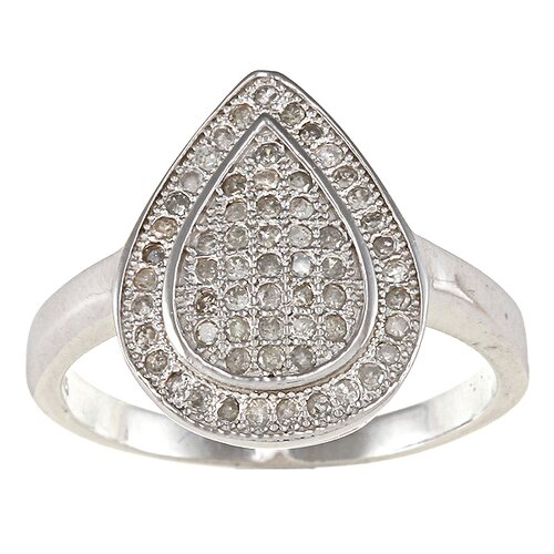 Designer Diamonds Sterling Silver Pear Shaped Pave Set Diamond Ring
