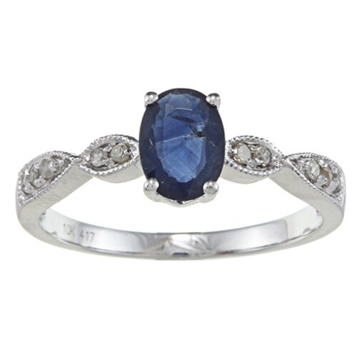 Designer Diamonds White Gold Genuine Oval Cut Sapphire and Diamond Ring
