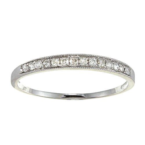 White Gold Milgrain Pave Set Diamond Band