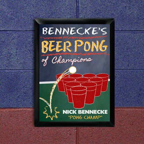 Personalized Gift Beer Pong Traditional Framed Graphic Art