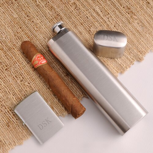 JDS Personalized Gifts Personalized Gift Cigar Case Flask