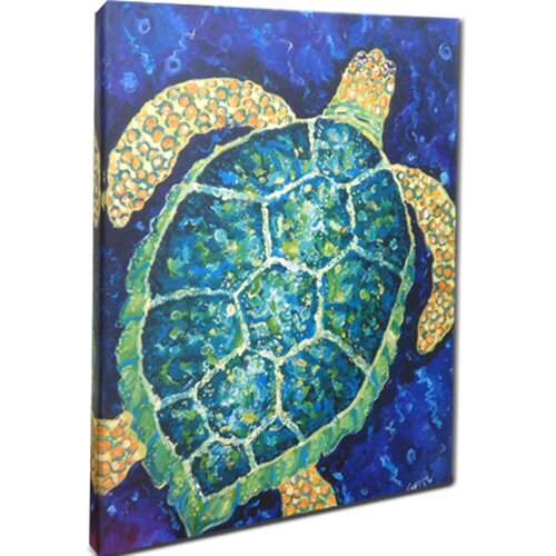 Sea Turtle Mounted by Giclee Gerri Hyman Painting Print on Canvas