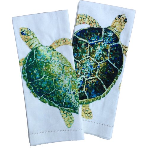 My island sea turtle tea towels reviews wayfair for Sea bathroom set