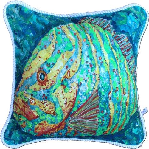 My Island Striped Grouper Cotton Pillow
