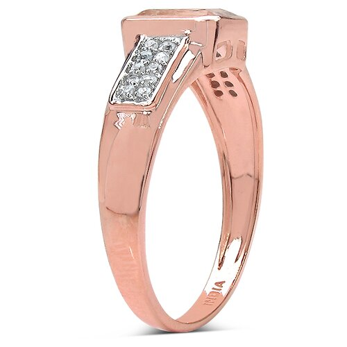 JewelzDirect 10K Rose Gold Emerald Cut Morganite Ring
