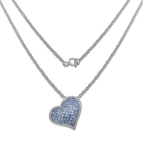 JewelzDirect 925 Sterling Silver Round Cut Tanzanite Heart Pendant