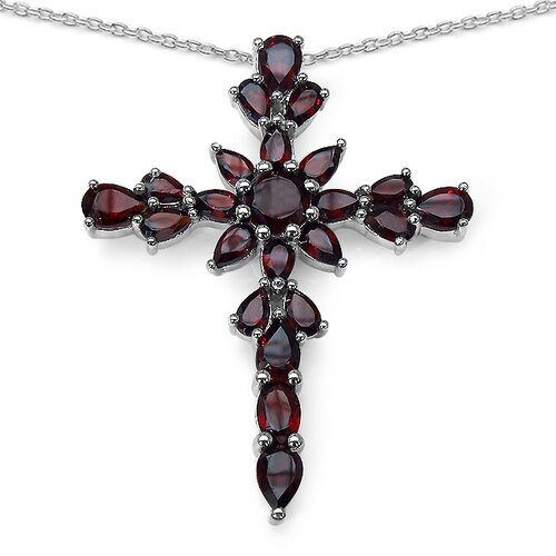 925 Sterling Silver Garnet Cross Pendant