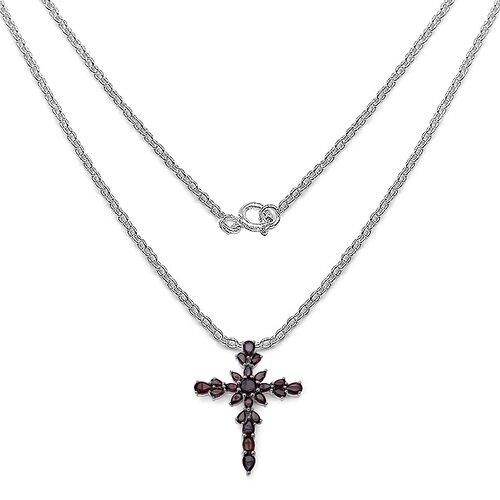 JewelzDirect 925 Sterling Silver Garnet Cross Pendant