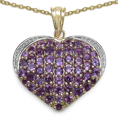 JewelzDirect 925 Sterling Silver Round Cut Amethyst Heart Pendant