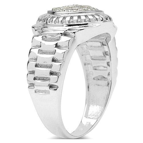 JewelzDirect 925 Sterling Silver Round Cut Diamond Ring