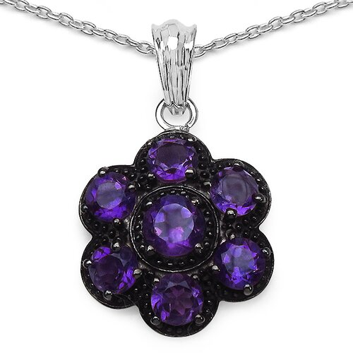 JewelzDirect 925 Sterling Silver Round Cut Amethyst Pendant