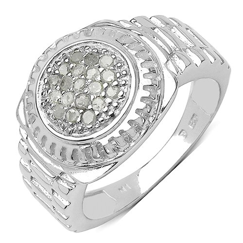 JewelzDirect 925 Sterling Silver Round Cut Diamond Ring