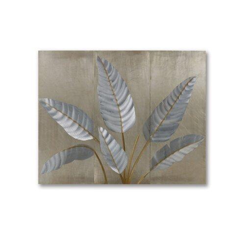 Gilmore 3 Piece Metallic Leaves Graphic Art Plaque Set
