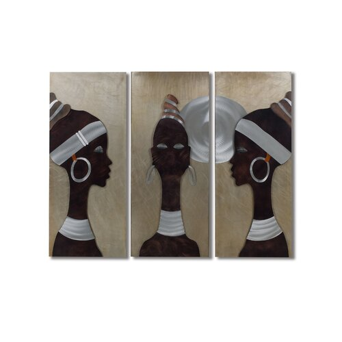 Nova Gilmore 3 Piece African Trio Graphic Art Plaque Set