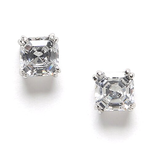 Cubic Zirconia Square Cut Stud Earring