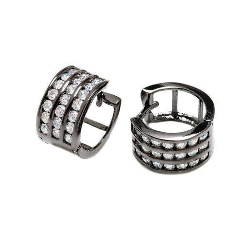 Silver Cubic Zirconia Triple Row Hoop Earring