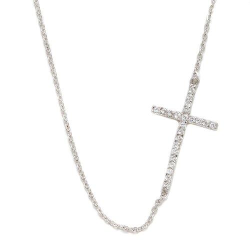 DK Sterling Sterling Silver Sideways Cross Necklace