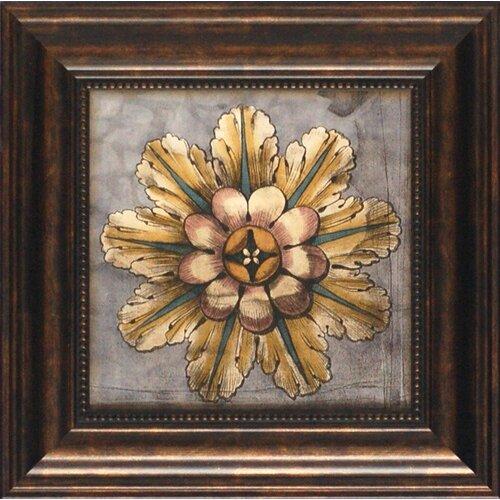 North American Art 'Custom Rosette Damask III' by Jennifer Goldberger Framed Graphic Art