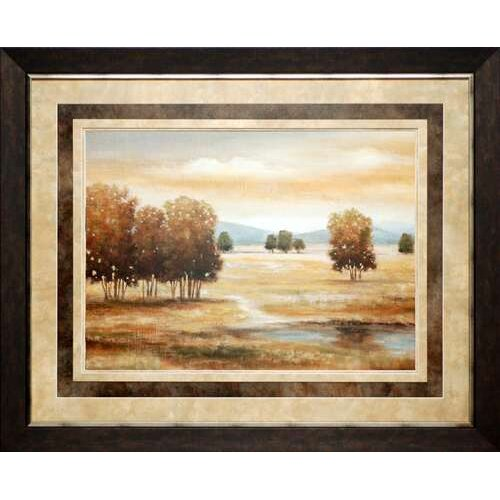 North American Art 'Linen Landscape II' by Nan Framed Painting Print