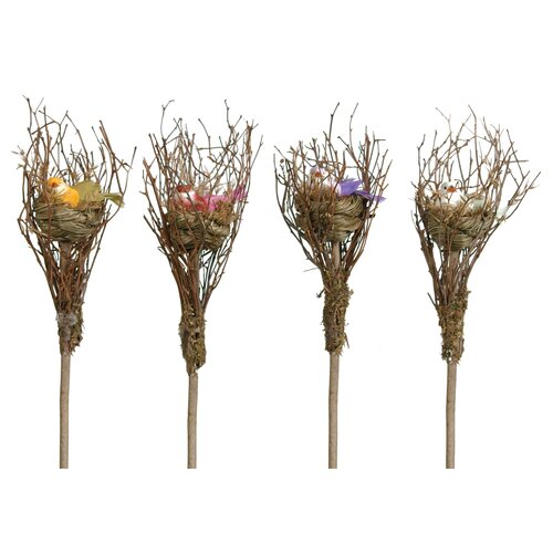 Oddity Inc. 4 Piece Assorted Bird Nest Figurine Set