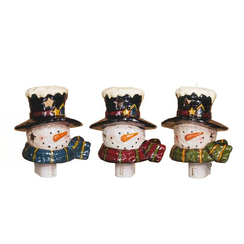 Snowman Night Light Christmas Decoration (Set of 3)