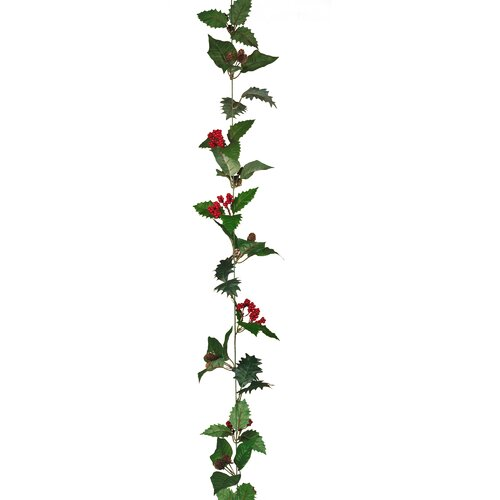 Oddity Inc. Holly Poinsettia Leaves Garland