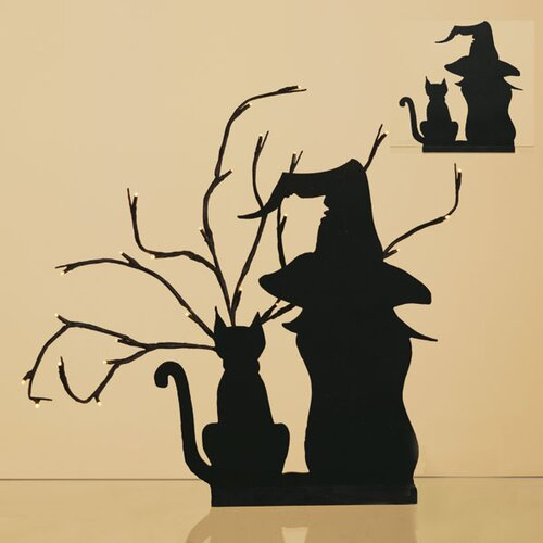 Oddity Inc. Wood Cat and Witch Silhouette