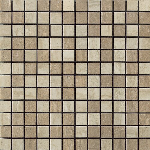 Samson Tile Travertini Polished Mosaic Floor and Wall Tile in Noce/Cream