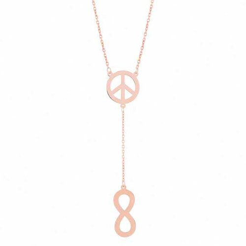 Flirt Jewelry Sterling Silver Peace Infinity Lariat Necklace