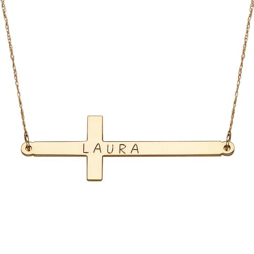 10K Gold Engraved Cross Necklace
