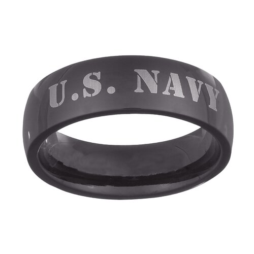 Men's Stainless Steel U.S. Navy Military Band
